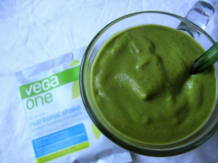 grinchy smoothie: apple avocado smoothie with Vega