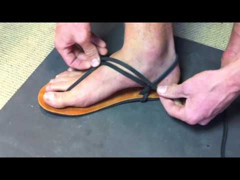 ▶ Luna Sandals Slip-On Tying Method #1 - long - YouTube Videotutorial step by step
