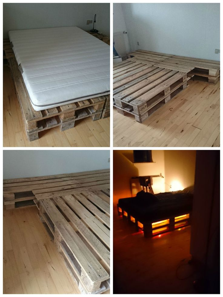 For this project, I've used 8 pallets that I've sanded, waxed and polished. Then, I've stacked them 2 by 2, set up vertically and horizontally and sawn to