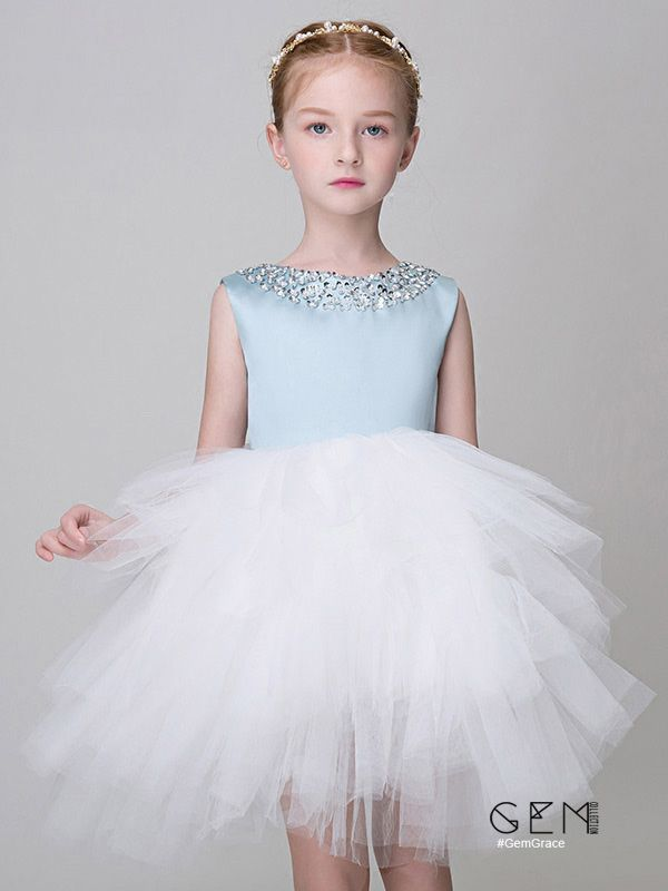 Only $96.99, Flower Girl Dresses Blue and White Tulle Ruffled Short Flower Girl Dress with Beaded Neckline #EFX01 at #GemGrace. View more special Flower Girl Dresses now? GemGrace is a solution for those who want to buy delicate gowns with affordable prices, a solution for those who have unique ideas about their gowns. Find out more>>