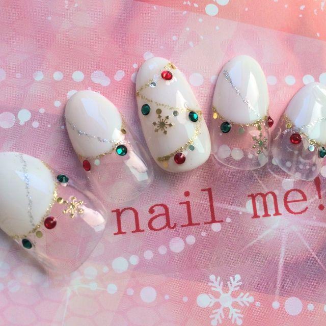 ネイルデザイン | ホワイト | クリスマス | ソフトジェル