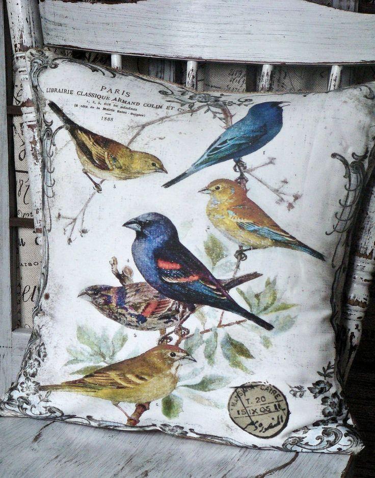 Pillow Cover..The Aviary...Vintage Bird throw Pillow cotton and burlap pillows Cover