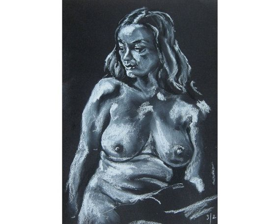 Over the Shoulder, original artwork on black paper life drawing nude female figure on Etsy, £60.00