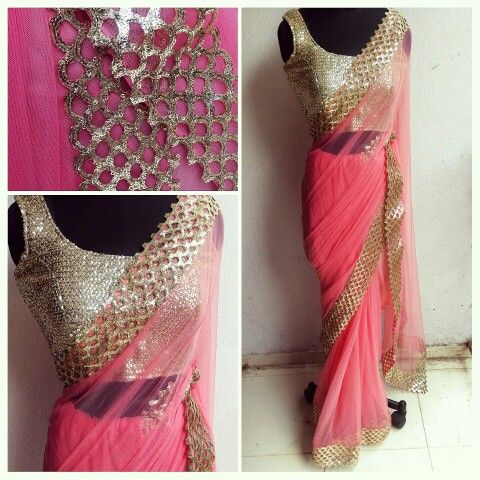 Soft pink sari with sequinned cut work border. Property of Waidurya not be used without consent.