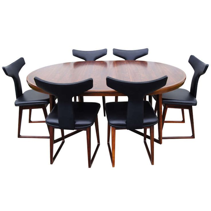 Rosewood Dining Table and Six Chairs by