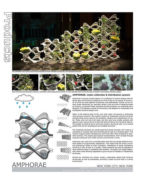 Amphorae- Reconfigurable Water Collecting Vertical Garden Wall made of Ductal Concrete | Flickr - Photo Sharing!