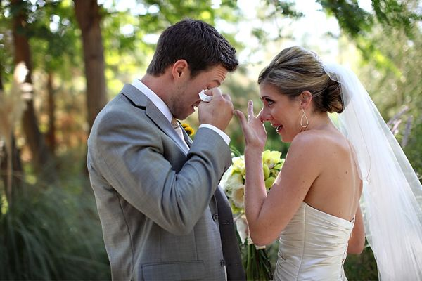 Both the Bride and the Groom are overcome with emotion as they see each other for the first time.  So sweet!
