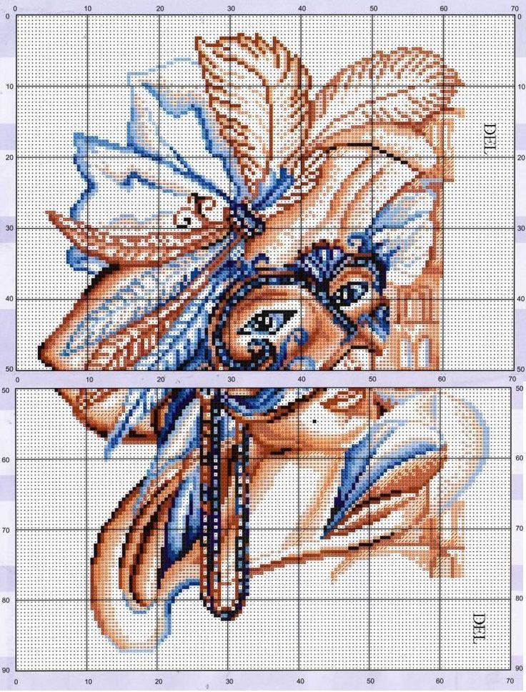 0 point de croix femme et masque venitien - cross stitch lady and venice mask