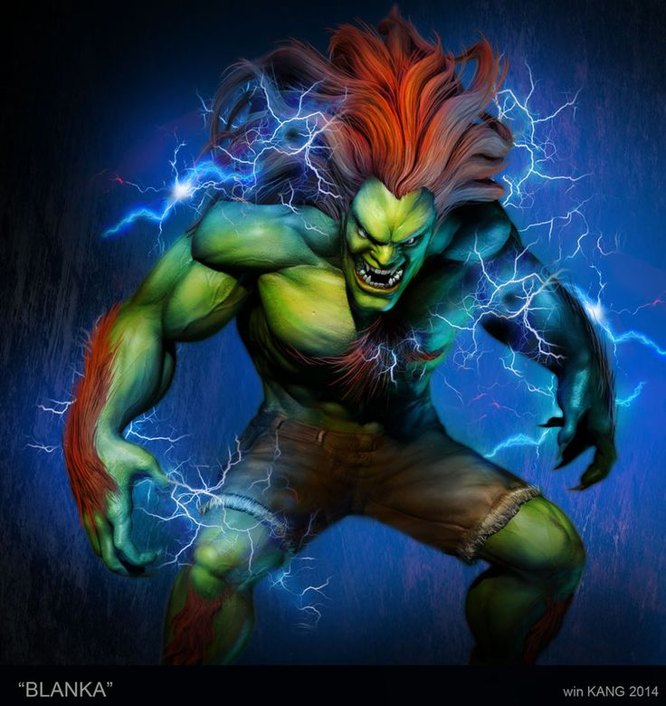 Electric Blanka!   Being a fan of Street Fighter, I made Blanka, which I've been known to play often usually as my secret last weapon of sorts.  I started off sculpting Blanka in Zbrush, then I Photoshopped it.