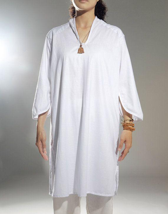 Womens plus size white linen loose leisure wear long by lanbao, $108.00