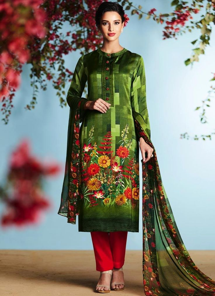 Buy latest salwar kameez designs, designer indian outfits like fashion salwar suit. Order this flamboyant green designer palazzo suit for festival and party.