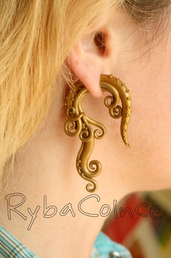 Fake ear tentacle gauge  Gold by RybaColnce on Etsy, $26.00