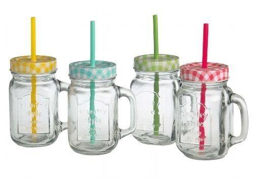 http://ift.tt/1T9DQoV Trinkgläser mit Henkel mit Deckel und Trinkhalm 4 Gläser Set a 05l @@phiini$$