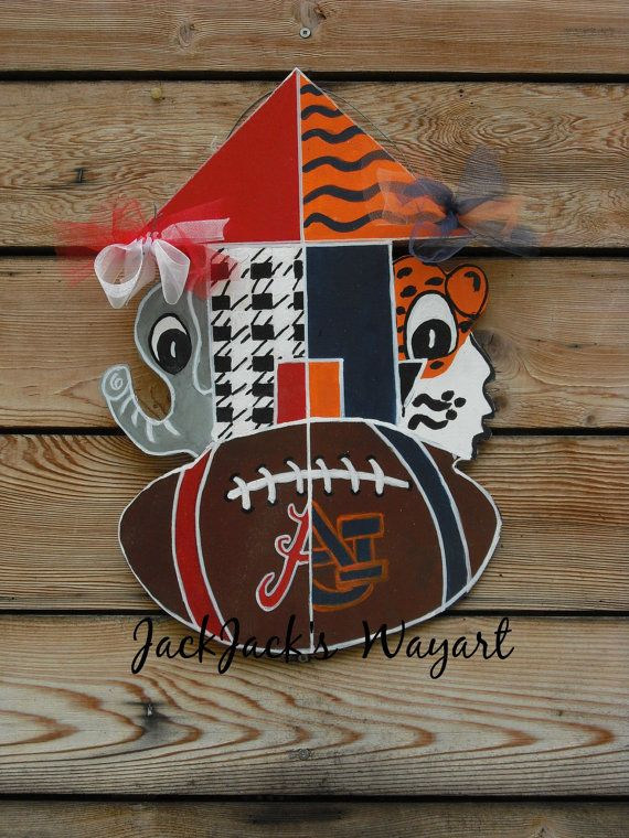 College football Alabama/Auburn House Divided door hagner Auburn/Alabama door hanger LSU/Alabama Sports door hangers Jack Jack's Wayart