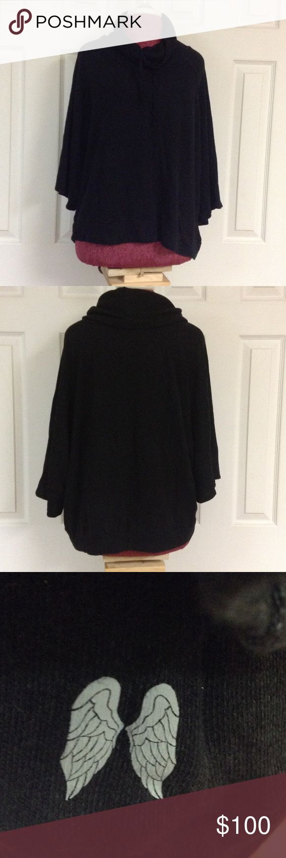 Victoria's Secret size XL black long sleeve poncho For sale we have a Victoria's Secret black size XL  long sleeve poncho with the angel wings symbol. Great shape no stains or tears. Jackets & Coats