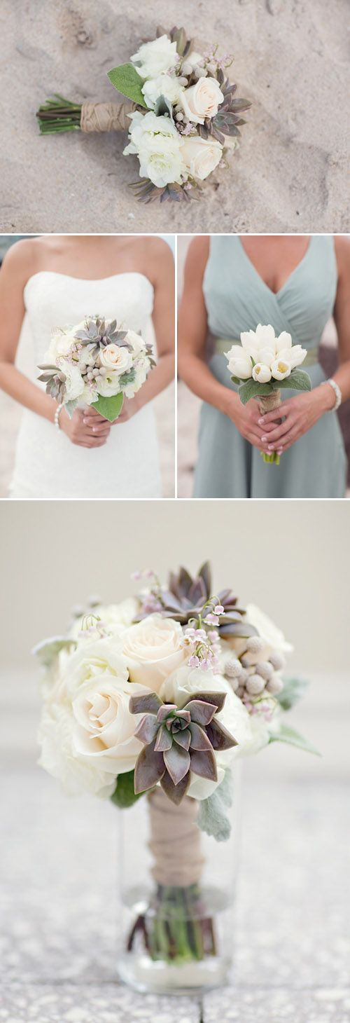 Gray and soft teal accent this beach wedding perfectly. Photo by Vitalic Photo via JunebugWeddings.com.