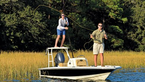"""Scout 177 Winyah: The Winyah has a beam of 7'3"""", a low center of gravity, and pockets on the chine to help create more stability. The poling platform is so easy to mount even ladies like to use it."""