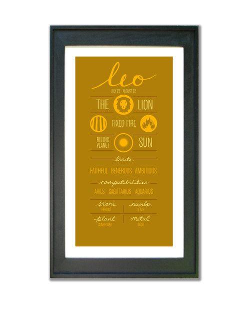 LEO. Zodiac Digital Print Poster Illustration of by ZodiacZone