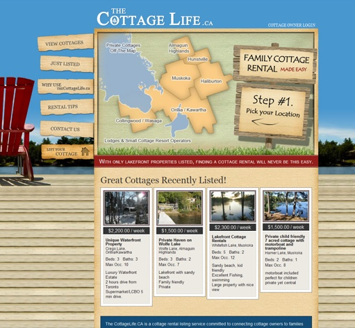 The Cottage Life website designed by Fusion Studios Inc.