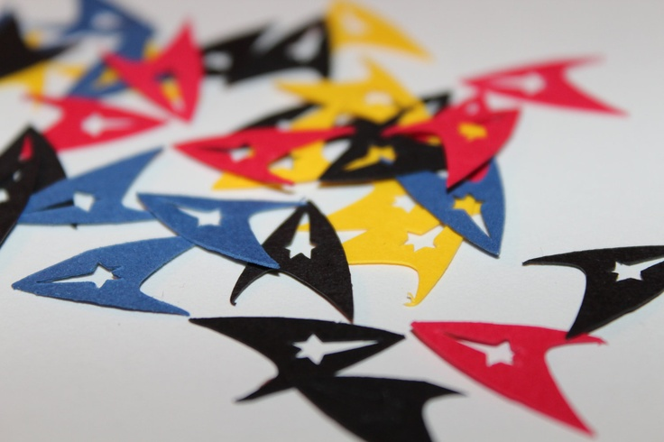 Yellow Red Blue & Black Star Trek Emblem Inspired Party Confetti 100 Pieces. $3.99, via Etsy.