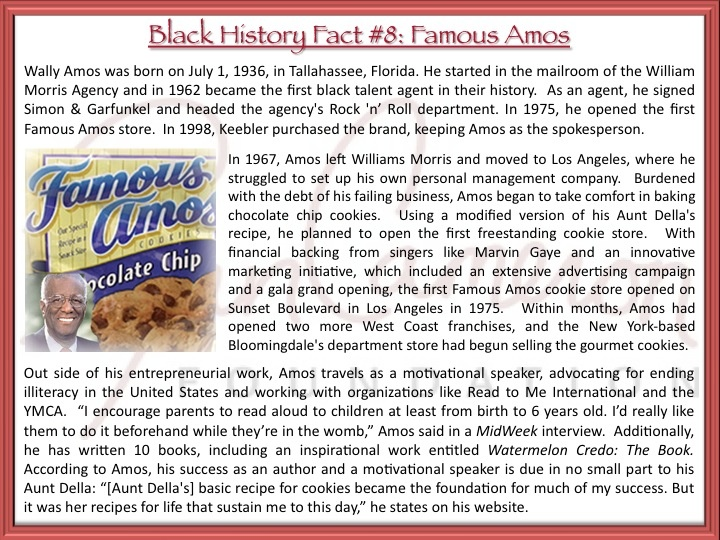 Black History Fact #8: Before he was Famous Amos, Amos Wally was the first black talent agent @ the William Morris Agency. http://fb.me/1y90cLlPN