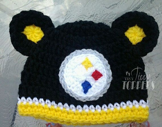 Crocheted Pittsburgh Steelers Hat by TinyTippyToppers on Etsy