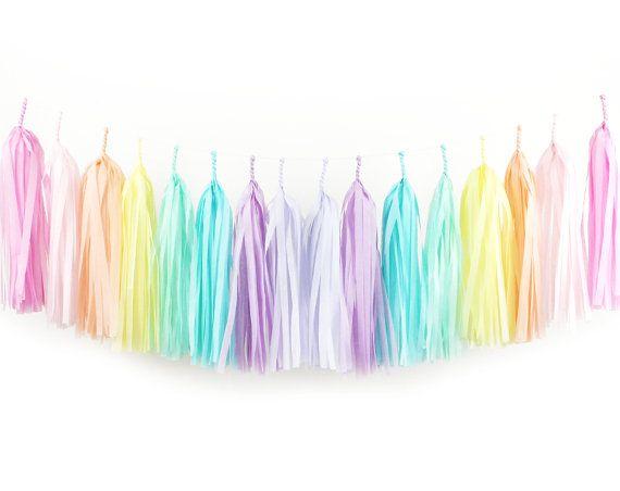 DIY Tissue Tassel Garland Kit - Rainbow - Soft Pink Pastel Ombre Paper Modern Girls Room Wedding Shower Tassle Nursery Decor Kids Children