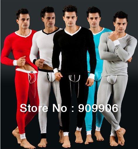 Мода 5 цветов мужская модальные кальсоны комплект термоодежды термокружка топ с длинным рукавом спортивные штаны WJ7031