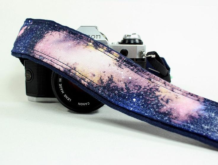 Galaxy 4 Camera Strap, Handpainted, OOAK, dSLR or SLR, Cosmos, Nebula. $35.00, via Etsy.