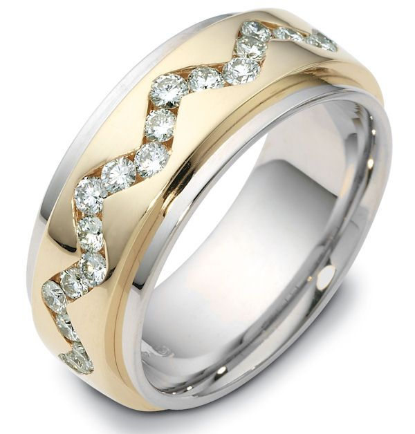 Diamond wedding ring 18kt two-tone, with spinning center.