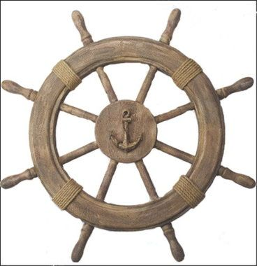 "Natural wood easily blends with many colors. Antique finish wooden ships wheel actually measures 22.5"""". There is an anchor displayed in the center of the wheel & rustic rope attached to the wheel its"