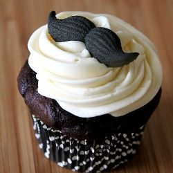 """""""Mustache"""" Cupcakes in support of Movember (Chocolate Cupcakes with Vanilla Frosting and Sugar Handlebar"""