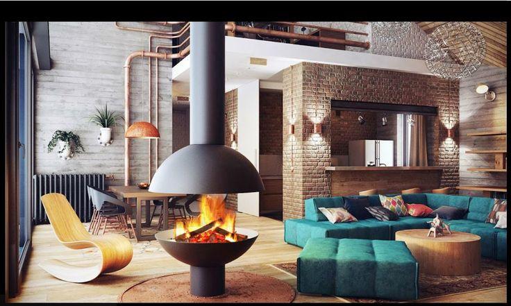 #cheminee #mezzofocus foyer central ouvert à bois #design contemporain