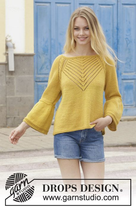 Hello Yellow / DROPS 187-4 - Jumper with cables, lace pattern, raglan and A-shape, knitted top down. Size: S - XXXL Piece is knitted in DROPS Cotton Merino.