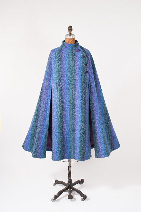 Blue Irish Wool Tweed Cape Vintage 80s Donegal Tweed