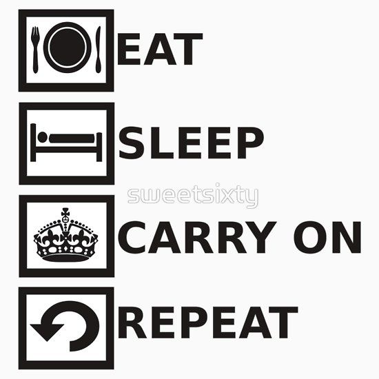 Eat Sleep Carry On Repeat - Keep Calm Repeat  Great twist on the eat sleep repeat and keep calm and carry on crown themes, love this t-shirt!