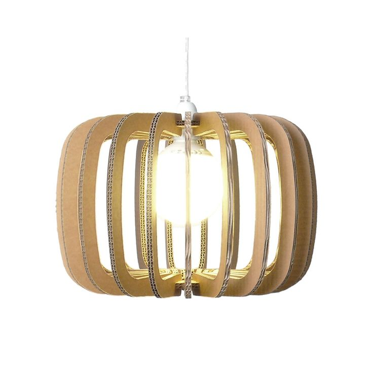Lamp made by corrugated cardboard. Lampholder in plastic material.