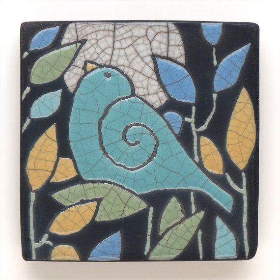 Ceramic Wall Art ,Aqua Turquoise Bird,Ceramic tile,handmade 4x4 raku fired art tilecu