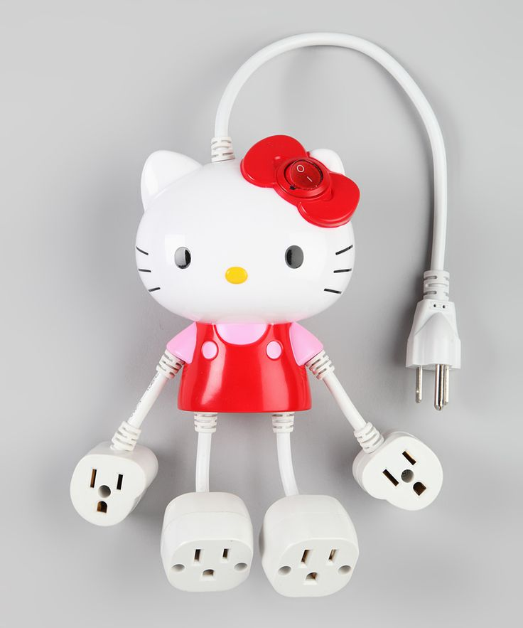 Want! Red Hello Kitty 4 Outlet Molded Power Strip  Neat products  Pinterest