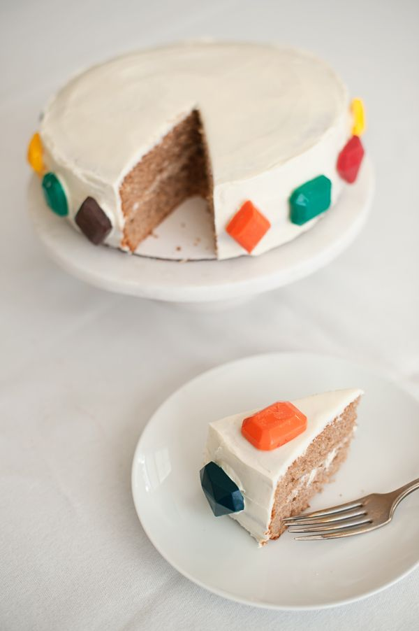 what a cute candied jewel cake for a birthday or party. i would throw this down for a simple get together with friends.