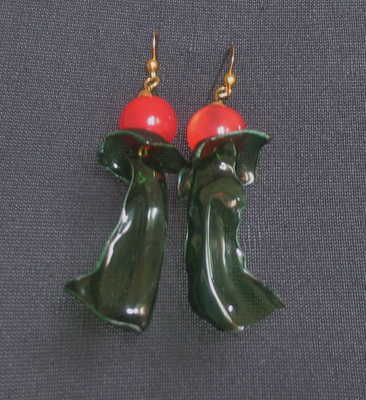 """""""Holly berries""""  P.E.T.earrings lenght about 8 cm"""