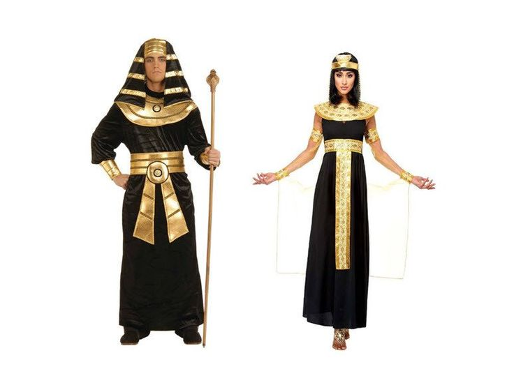 Egyptian Queen of the Nile Includes: Dress, belt, collar, cape with armbands and cuffs, headpiece. Not included: Wig, shoes. - Size-M - Includes: Long black dress with attached gold belt that drapes i
