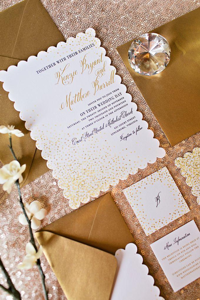 金の結婚式の招待状|ミーガン·ヴォーン写真|グラマー&グレイス
