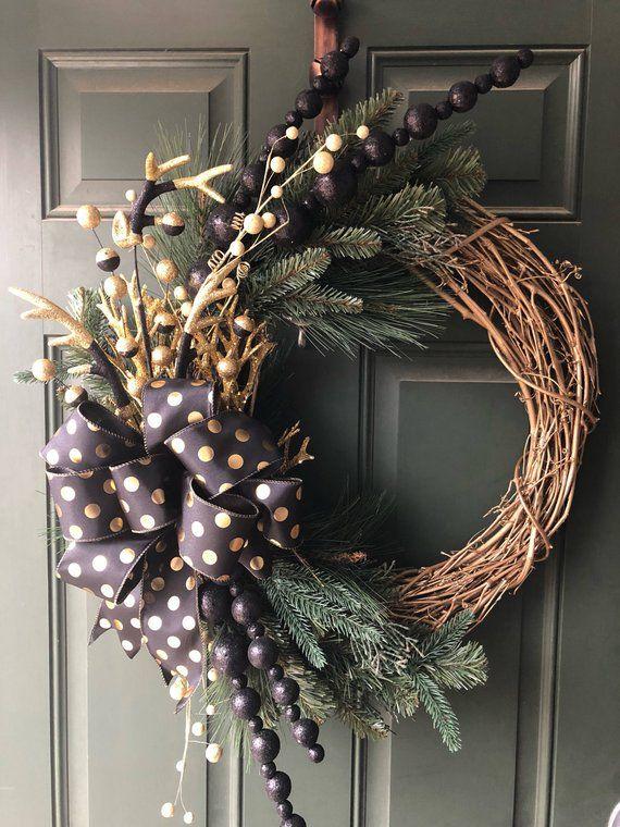 Rustic Christmas Wreath 25 Grapevine Reindeer Antlers Christmas