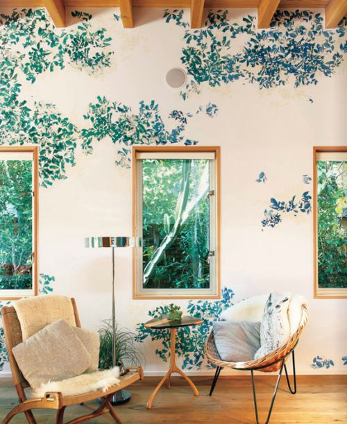 wallpaper... cut up?: Decor, Interiors Inspiration, Living Rooms, Floral Wallpapers, Houses, Jason Schmidt, Window, Interiors Design, Sunroom
