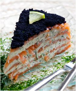 Smoked Salmon, Cream Cheese & Caviar Cake hors d'eouvre
