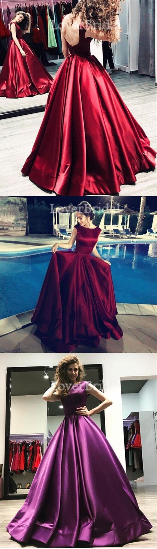 Sexy Backless Satin Bateau A line Long Custom Evening Prom Dresses, 17432