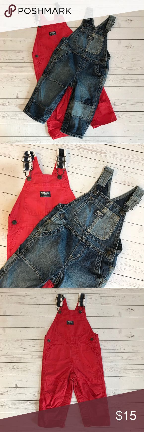 NWOT Osh Kosh lot of two toddler overalls These were purchased new, washed once, and never worn!  Size 18M.  Red overalls have navy/ivory straps and denim overalls have cute faux patchwork/distress detailing.  Super adorable!  Listing is for both items! Osh Kosh Bottoms Overalls