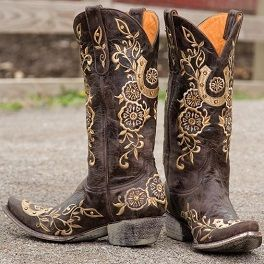 Old Gringo Lucky Boots   The Old Gringo Lucky western cowgirl boot features three embroidered  horseshoes with decorative floral vines to turn your luck around.
