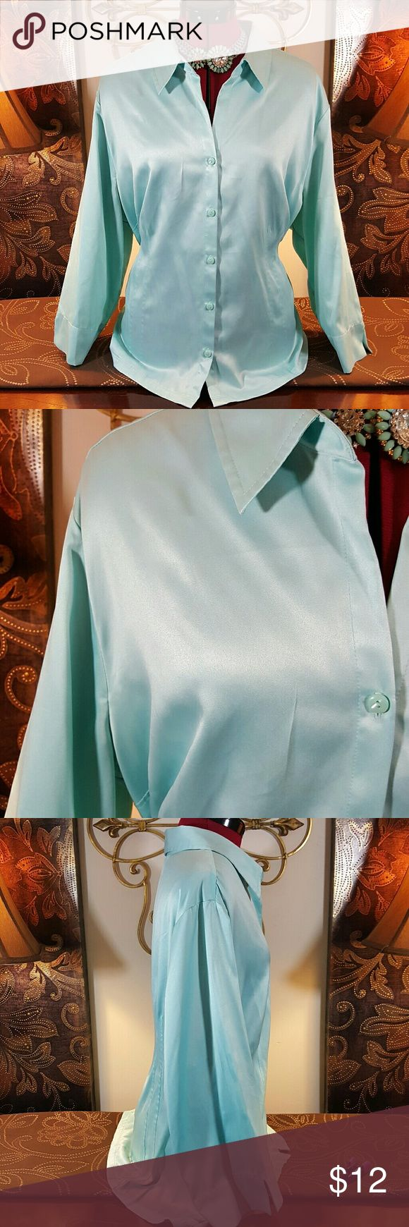 Cato Women's Plus Size Button Down Shirt 22/24W Cato Women's Plus Size Button Down Shirt 22/24W light Teal color...in great condition please see pictures for overall condition Cato Tops Button Down Shirts